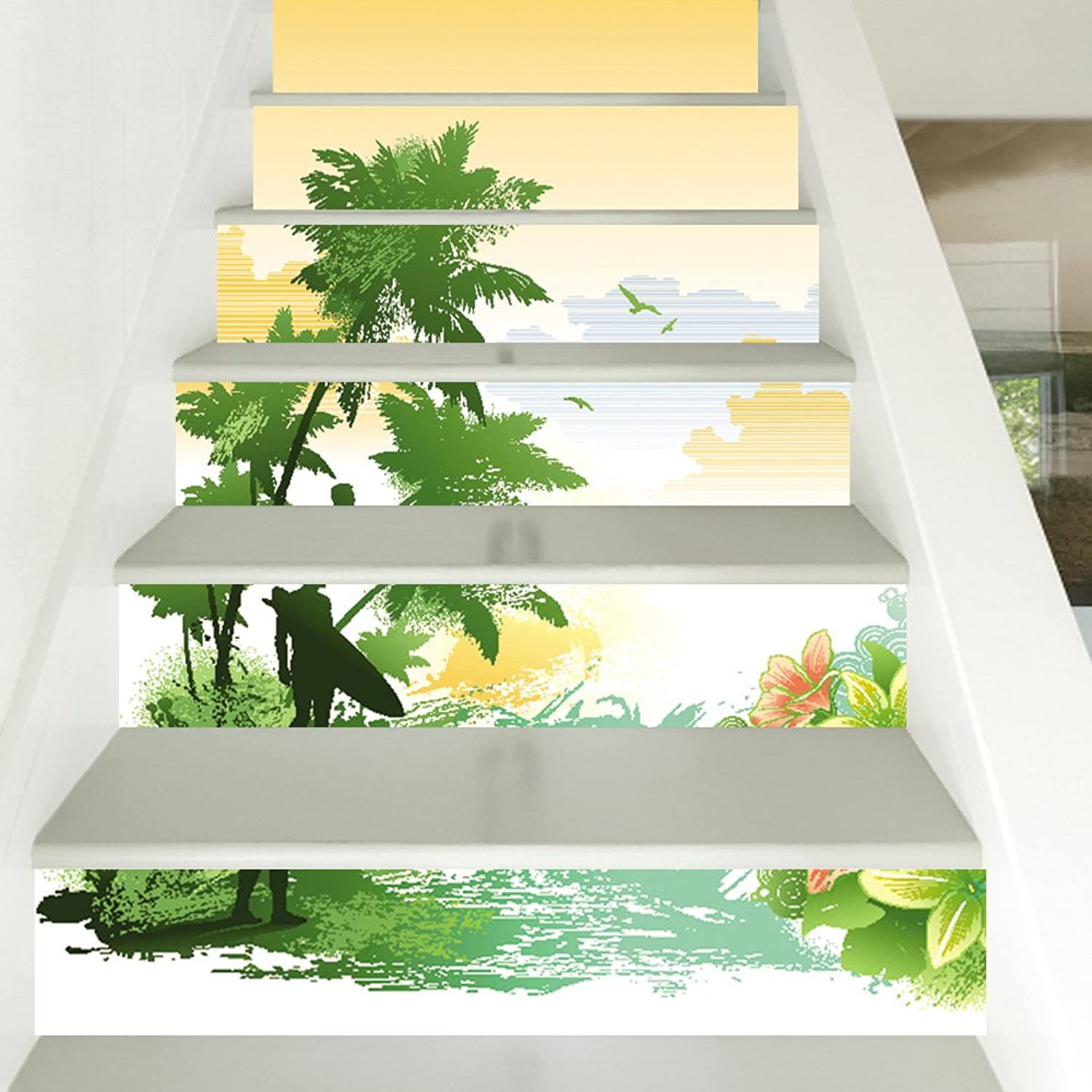 Stairs Wallpaper self-Adhesive Modern Style Beach Coconut Home Decoration 3D Detachable DIY Steps Stickers Modern HD Waterproof Buy Three get one Free