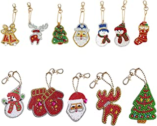 DIY Keychains Diamond Painting Kits for Kids,Full Drill Rhinestone Mosaic Making Decorative Kits DIY Paint with Diamonds Arts Crafts (12 Pack)