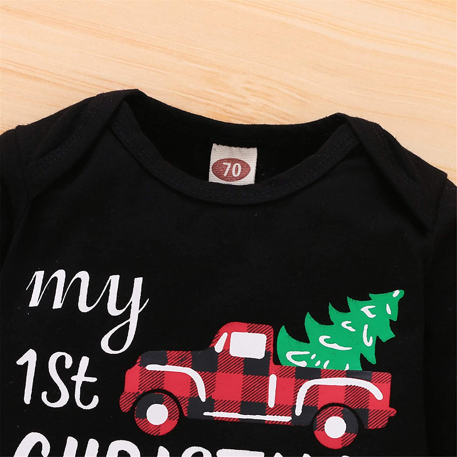 My First Christmas Outfit Baby Boy Long Sleeve Truck Rompers Xmas Plaid Pants Hat Clothes Set