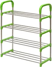 Three Secondz 4-Layer Shoes Rack Simple Portable Shoe Storage Shoes Organizer- Random Color -Blue/Green/Pink/Purple(Medium)