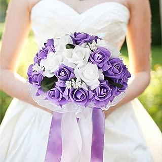 vLoveLife Wedding Bouquet White & Lavender Artificial Rose Flowers Bridal Bridesmaid Bouquets Handmade Posy Pearl Rhinestone Ribbon Decor