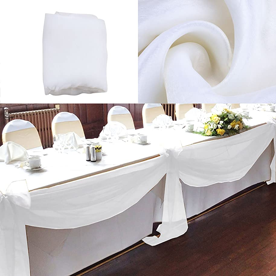 vLoveLife 33ft White Sheer Organza Top Table Swag Fabric Table Runner Chair Sash Wedding Car Party Stair Bow Valance Decorations