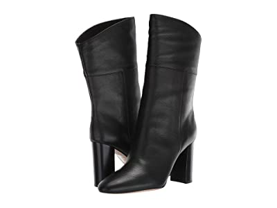 J.Crew Leather Mid-Calf Stacked Anya Boot (Black) Women