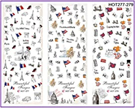 3 Pack Liberty Statue US UK France Nails Art Stickers Tattoos Water Decal Professional Girls Stamper Plates Deluxe Popular Paint Templates Decals Nail Wraps Kits