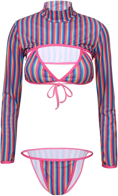 Nimiya Womenâ€s Rainbow Stripe Rash Guard Long Sleeve Crop Top with Bikini Set 3 Piece Swimsuit