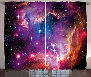 Ambesonne Galaxy Curtains, Magellanic Cloud Stars and Colorful Cosmic Universe View Pattern, Living Room Bedroom Window Drapes 2 Panel Set, 108