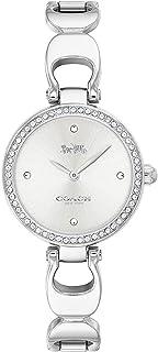 ساعة بمينا ابيض وفضي وسوار من الستانلس ستيل للنساء من كوتش - 14503170