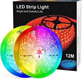 Tiras LED de 12M con Controlador Bluetooth, Sincronización Musical, Control Remoto IR de 40 Teclas, Luz LED RGB 5050 Contr...