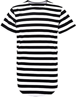 Idopy Men`s Hipster Curved Hem Hiphop Extended Basic Long T-shirt