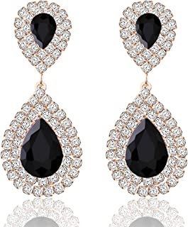 Crystal Rhinestone Teardrop Drop Dangle Earrings Jewelry Set for Women Girls,Women's Bridal Wedding Party Bridesmaid Prom Jewelry Gift.