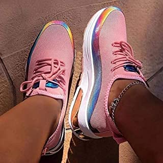 Women Lace Up Sneaker 2020 Woman Casual Mesh Spring Autumn Women's Breathable Ladies Flat Anti-Slip Women Sneakers Air-Cushion Outdoor Jogging Vulcanized Shoes,Pink,41