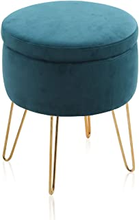 ALPHA HOME Round Storage Ottoman with Removable Lid Tufted Vanity Dressing Chair Velvet Fabric Shoe Change Footrest Stool Side Table Seat Tray Top Coffee Table with Golden Chromed Metal Legs, Teal