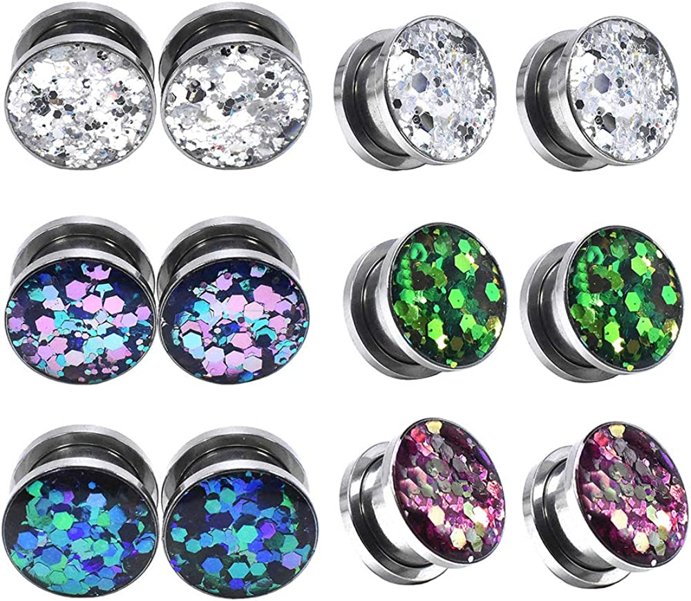 Jboyanpei Stainless Steel Ear Tunnels Stretching Screw Fit Gauge Plugs Flared Expander Body Piercing Jewelry Size 8g(3mm) to 150/127