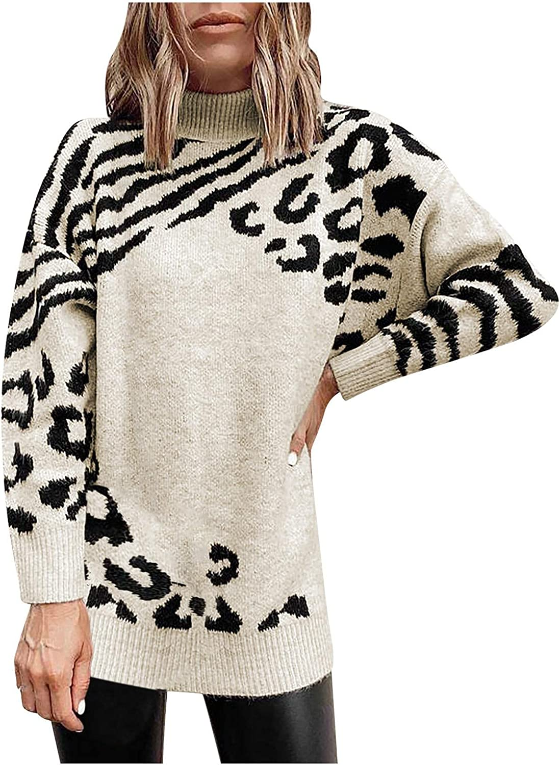 Womens Fall Turtleneck Sweater Comfy Soft Long Sleeve Plus Size Coat Casual Breathable Jumper Leopard Print Tops