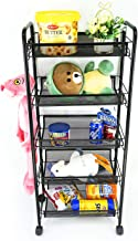 Ovicar Mesh Utility Cart, Rolling Basket Stand for Kitchen & Office & Bathroom, Full Metal Storage Art Trolley Carts with Wheels & 4 Side Hooks (5 Tier, Black)