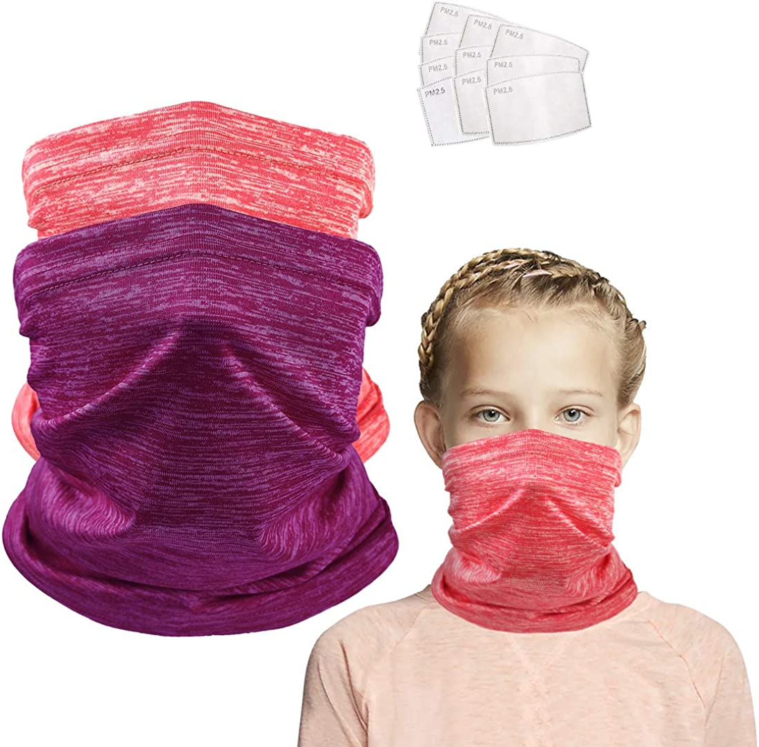 2 Pcs Neck Gaiter for Kids Bandanas Face Covering with Filter Boys Girls Thick Balaclavas Scarf