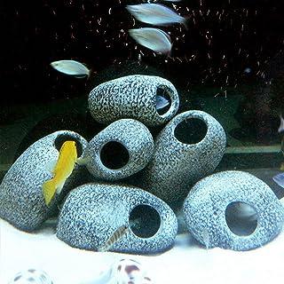 pesci e gamberetti da riparare. CHRISTY HARRELL rifugio decorativo in pietra per ciclidi per acquario e grotta di roccia in resina Decorazione per acquario