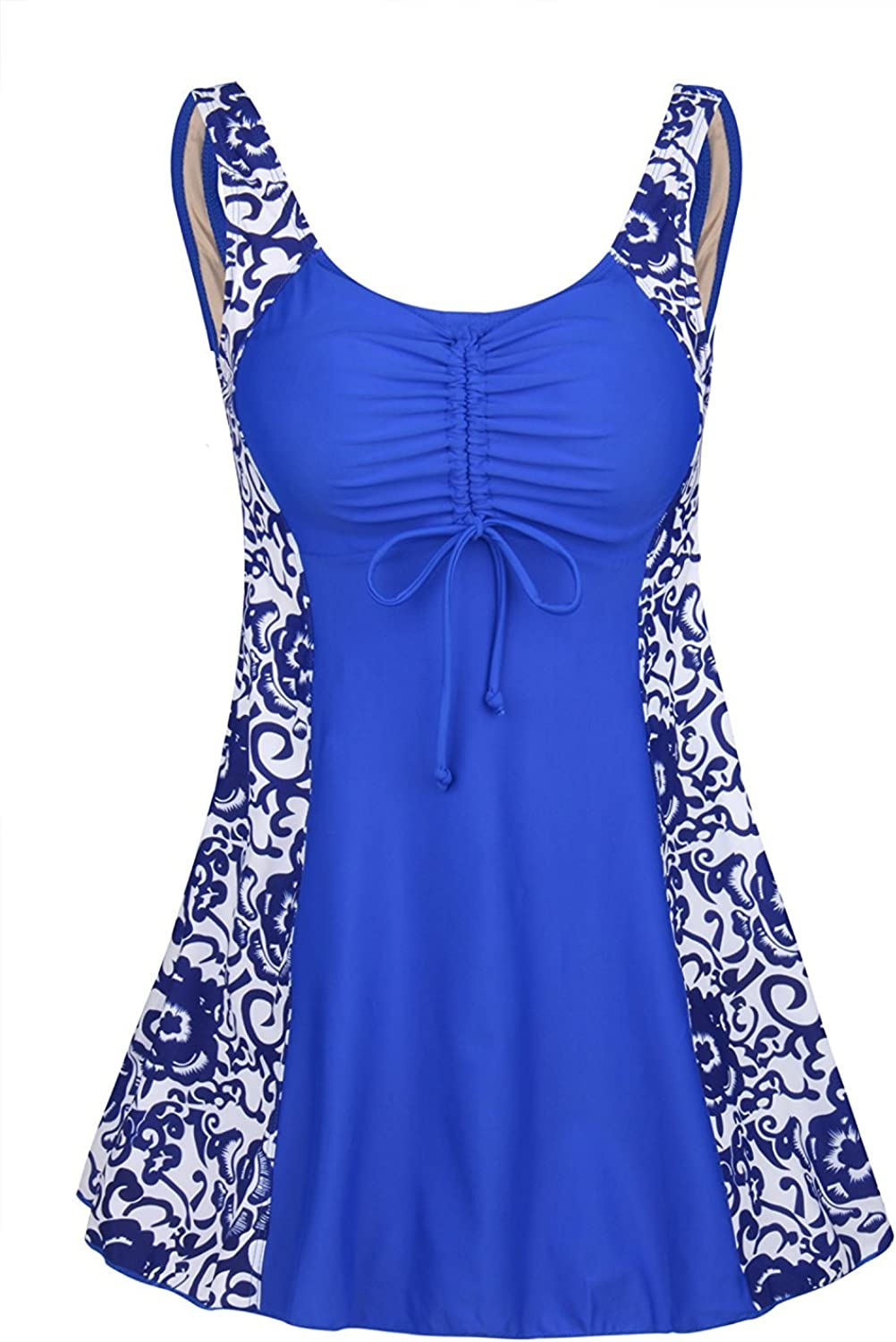 Ecupper One Piece Floral Swimwear Plus Size Swimsuits Cover Up Swimdress for Women