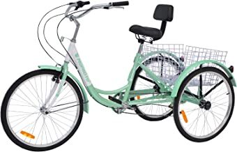 MOPHOTO Adult Tricycle 1/7 Speed Three Wheel Bikes for Adults, Meridian 26 Adult Tricycle for Men/Women/Seniors
