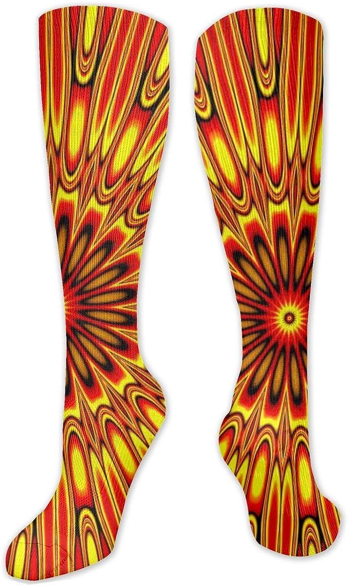 Abstarct Orange Stripes Knee High Socks Leg Warmer Dresses Long Boot Stockings For Womens Cosplay Daily Wear