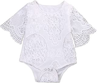 Newborn Infant Baby Girl Flower White Lace Off Shoulder Romper Jumpsuit Outfit Clothes