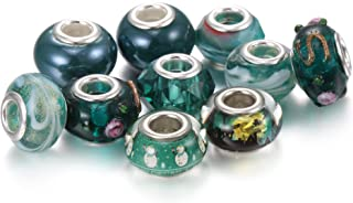 BRCbeads Top Quality Christmas Series 10Pcs Mix Silver Plate EMERALD THEME Murano Lampwork European Glass Crystal Charms Beads Spacers Fit SnTroll Chamilia Carlo Biagi Zableake Chain Charm Bracelets.