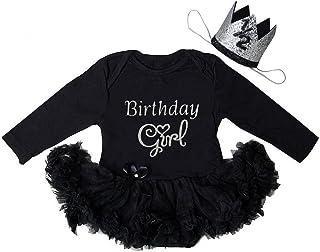 Kirei Sui Baby 1st First Birthday Black Bodysuit Tutu & Crown Headband