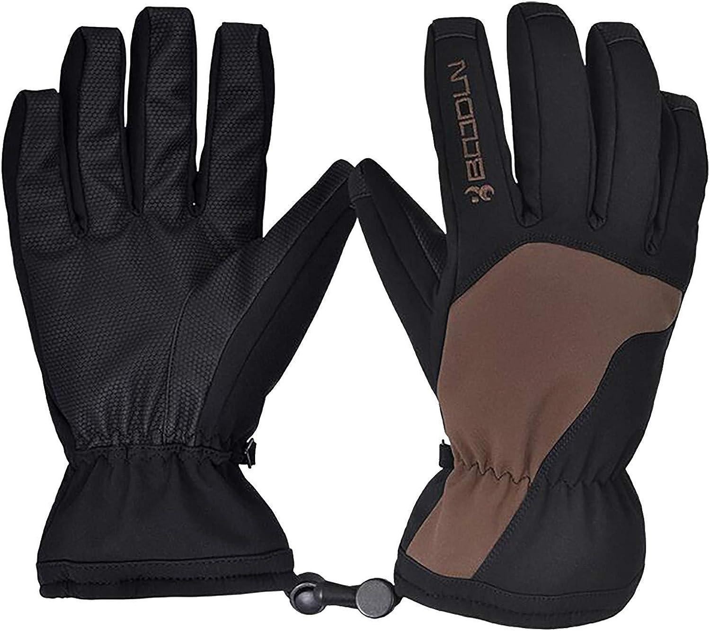 Leirke Men's Winter Thermal Gloves Color Block Warm Gloves Screentouch Waterproof Windproof Outdoor Skiing Cycling Mitten