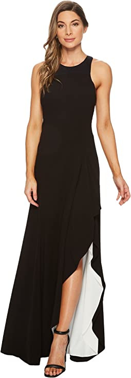 Halston Heritage Sleeveless Round Neck Asymmetrical Gown