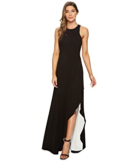 Sleeveless Round Neck Asymmetrical Gown