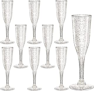Plastic Champagne Flutes 105 Piece, 5 Oz Plastic Champagne Glasses Silver Glitter, Premium Disposable Clear Cups Prefect for Wedding and Party