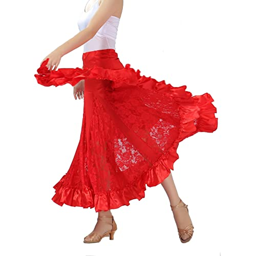 eadaec2a5c1b CISMARK Elegant Ballroom Dancing Latin Dance Party Long Swing Race Skirt