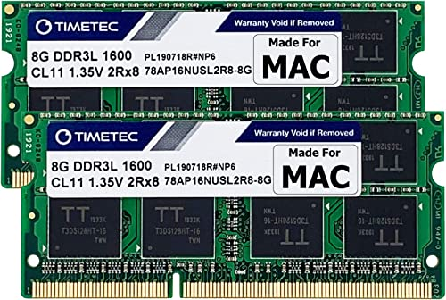 Timetec Hynix IC Apple 16GB Kit (2x8GB) DDR3L 1600MHz PC3L-12800 SODIMM Memory Upgrade for MacBook Pro13-inch/15-inch...