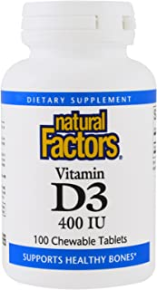 Natural Factors Vitamin D3, 100 Chewable Tablets 400 IU (Pack of 2)