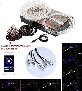 6 Meter RGB Lichtleiste Auto Ambientebeleuchtung Innenraumbeleuchtung Bluetooth Verbindung Phone Control APP Steuerung für IOS Android (mit 5 Module)