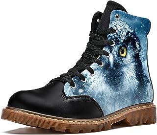 LORVIES Yeux de Hibou Oiseau Bottes d'hiver Chaussures Montantes en Toile à Lacets pour Hommes
