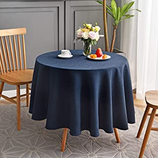 maxmill Jacquard Round Table Cloth Swirl Pattern Waterproof Antiwrinkle Heavy Weight Soft Tablecloths for Circular Table Cover and Kitchen Dining Tabletop Decoration Round 70 Inch Navy Blue