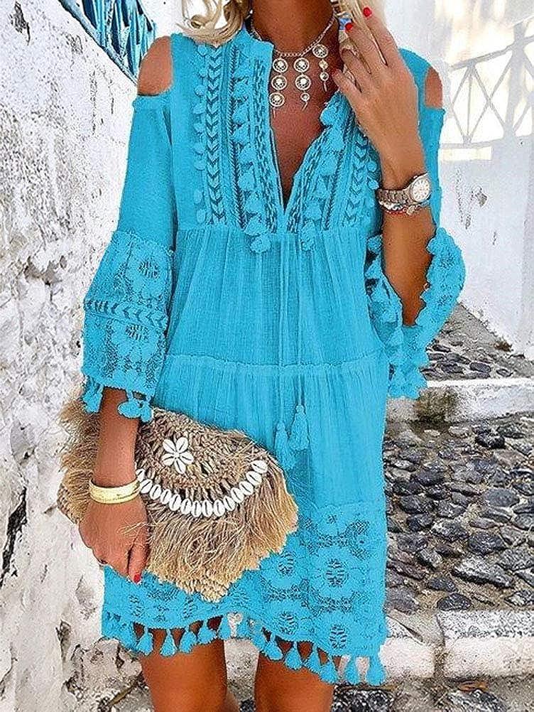 ORANDESIGNE Damen Kleider Strand Elegant Casual A-Linie Kleid Langarm Sommerkleider Boho V-Ausschnitt Quaste Tunika Mini Kleider B Blau