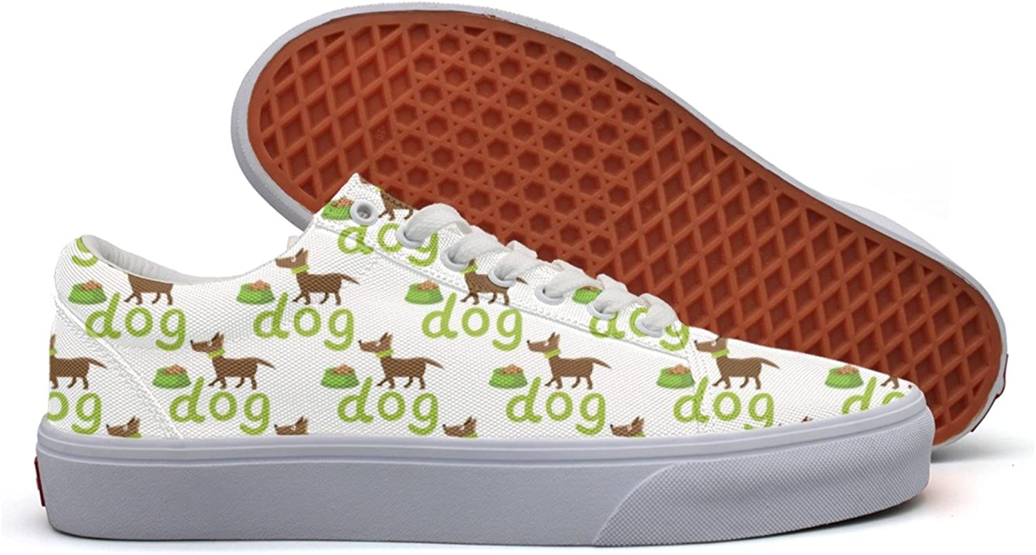 Happy Dog With Bowl Womens Plain Canvas Running shoes Low Top Cute Basketball Sneakers For Women
