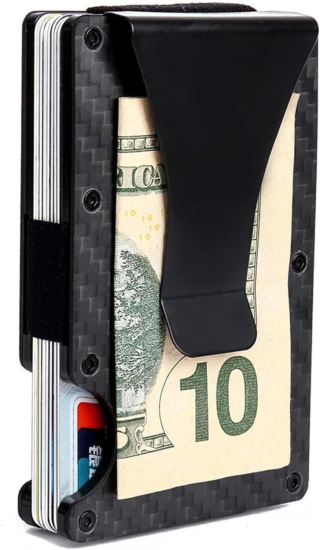 Minimalist Money Clip Wallet Front Pocket RFID Blocking Credit Cards Holder Slim Wallets for Men Women - Carbon Fiber