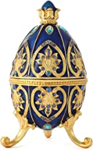 QIFU Hand Painted Faberge Egg Style Enamel Hinged Jewelry Trinket Box Best Ornament for Your Collection Unique Gift for Home Decor