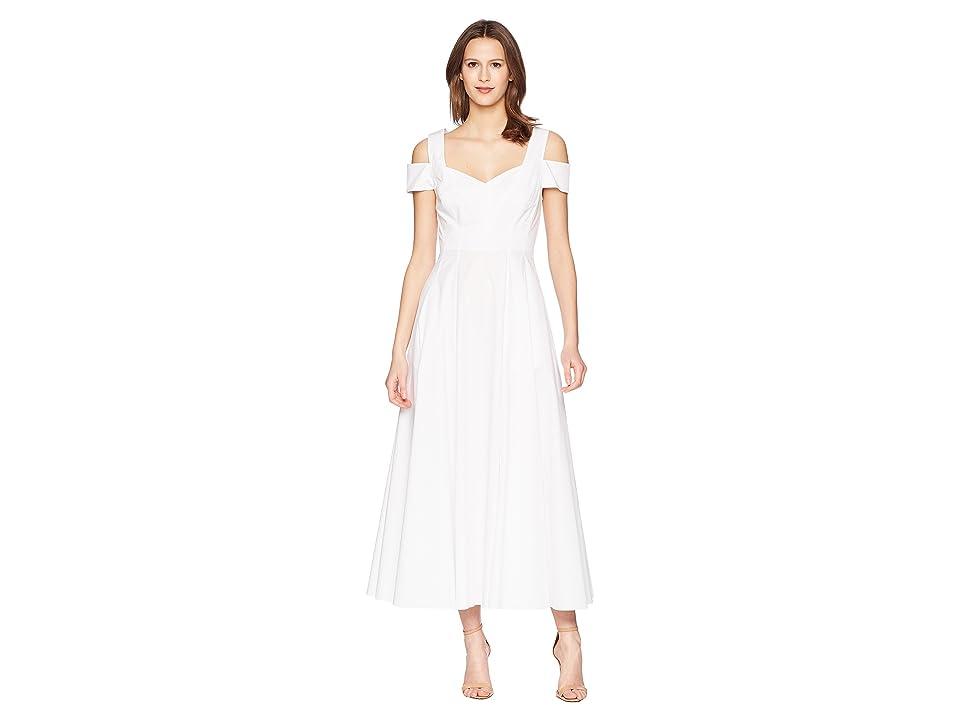 Prabal Gurung Cotton Poplin Elena Cold Shoulder A-Line Dress (White) Women