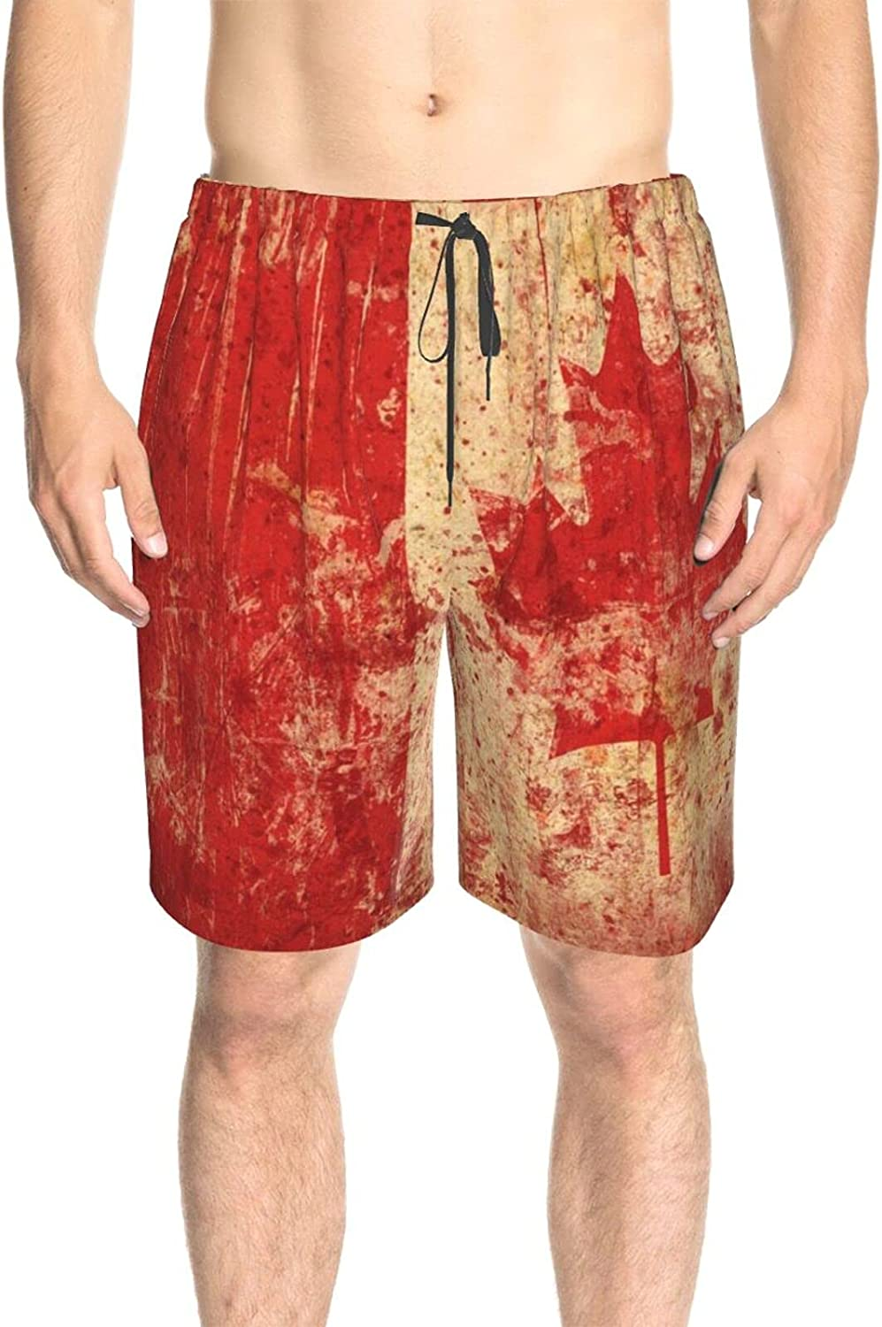 Men's Swim Trunks Canada Flag Blood Splash Beach Board Shorts Quick Dry Cool Surf Beach Shorts with Liner