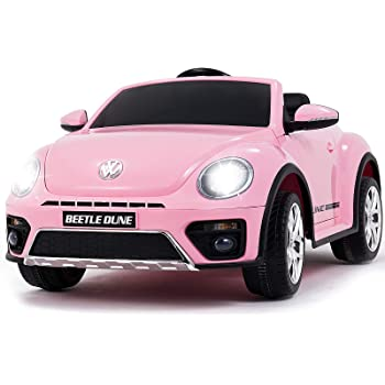 Uenjoy Volkswagen Beetle 12V Kids Electric Ride on Cars Battery Powered Motorized Vehicles, Remote Control, Music, Bluetooth, Suspension, Double Door, Pink