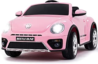 Uenjoy Volkswagen Beetle 12V Kids Electric Ride on Cars Battery Powered Motorized Vehicles, Remote Control, Music, Bluetooth, Suspension, DoubleDoor, Pink