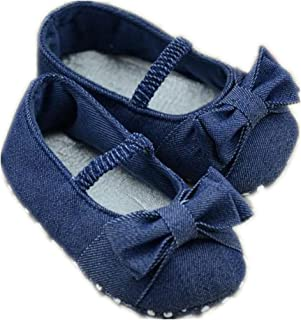 DZT1968 Baby Girl Soft Sole Denim Colth Shoes Prewalker with Bowknot