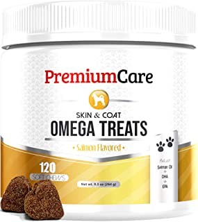 Omega 3 Alaskan Fish Oil For Dogs - All-Natural Wild Salmon Oil For Dogs With EPA & DHA Fatty Acids - Itch Free Skin + Healthy Skin & Coat + Hip & Joint Support + Allergy, Heart & Brain Health