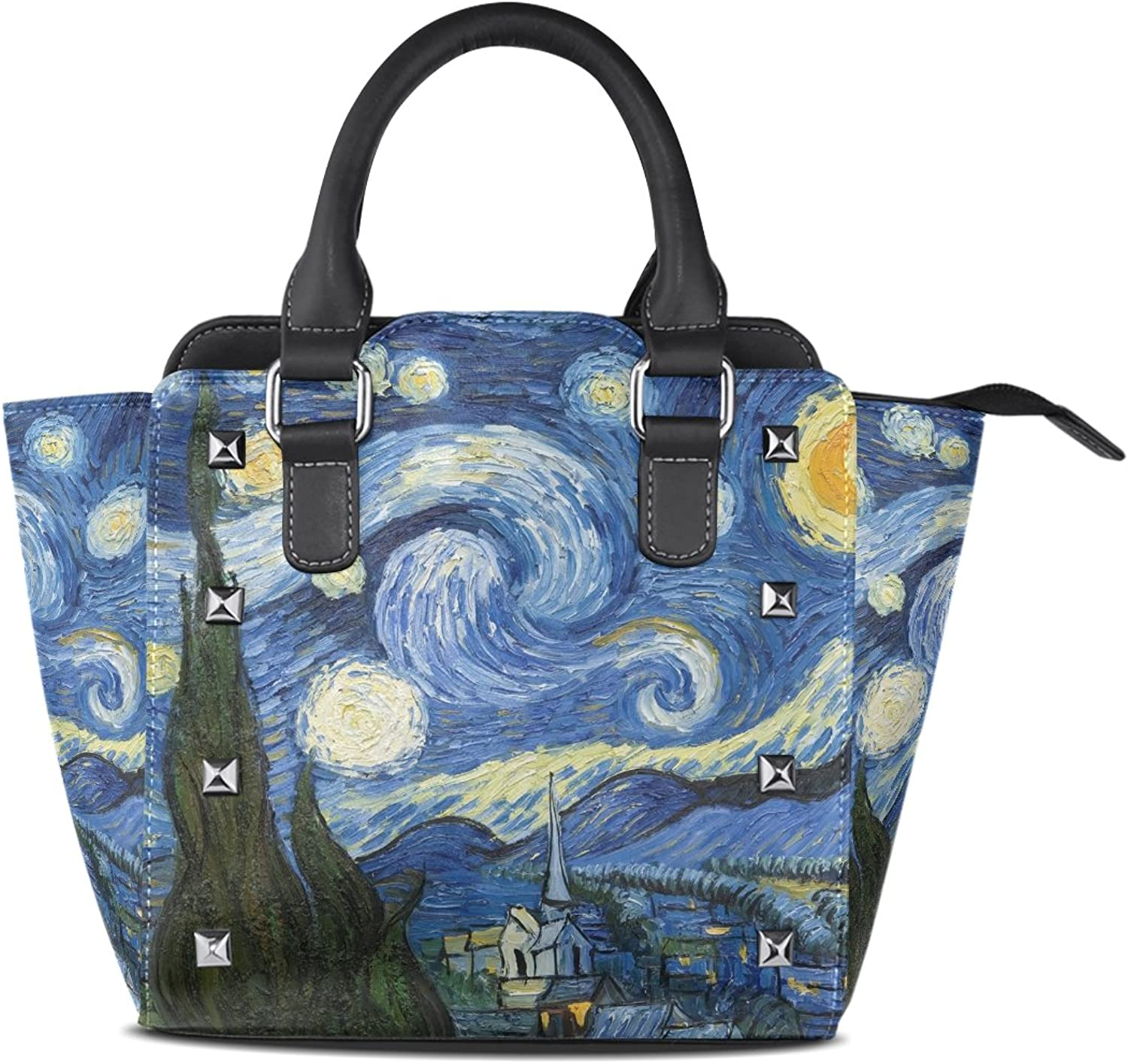 My Little Nest Women's Top Handle Satchel Handbag Starry Night Van Gogh Oil Painting Ladies PU Leather Shoulder Bag Crossbody Bag
