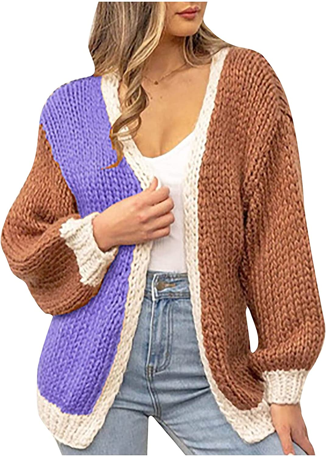 Womens Casual Open Front Knitted Cardigan Color Matching Long Sleeve Chunky Knit Cardigan Sweaters Loose Outwear Coat