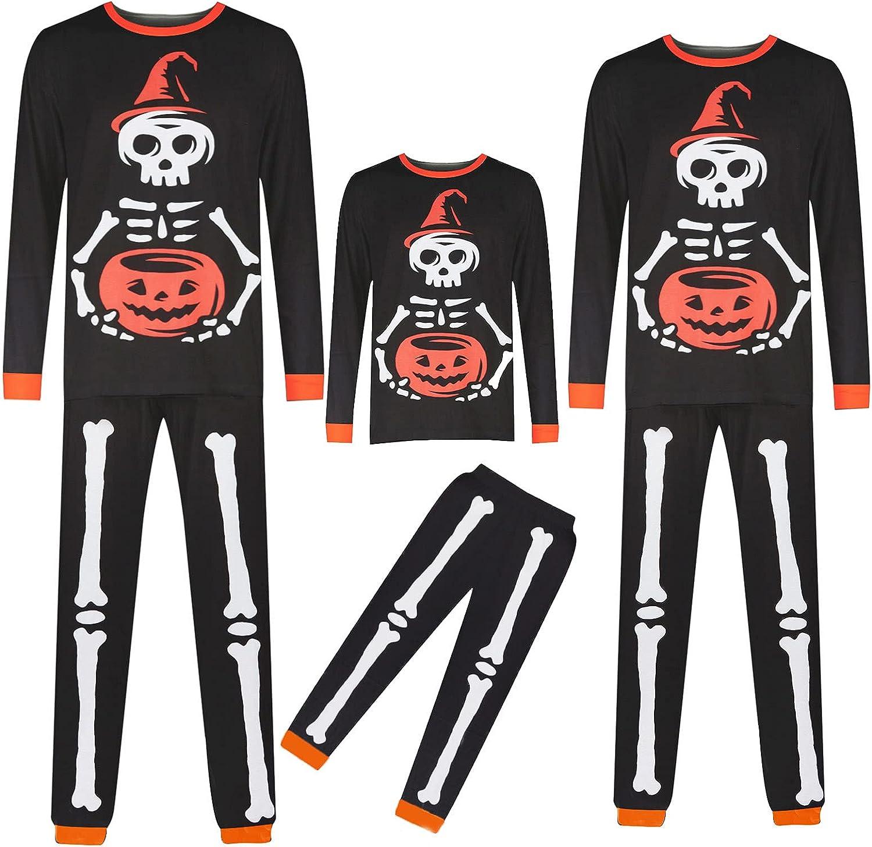 Family Matching Pajamas Halloween Pumpkin Skeleton Print Pjs Outfit Long Sleeve Festival Party Family Sleepwear Set